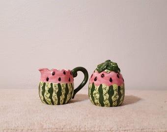 Vintage Watermelon Creamer and Sugar Bowl Set
