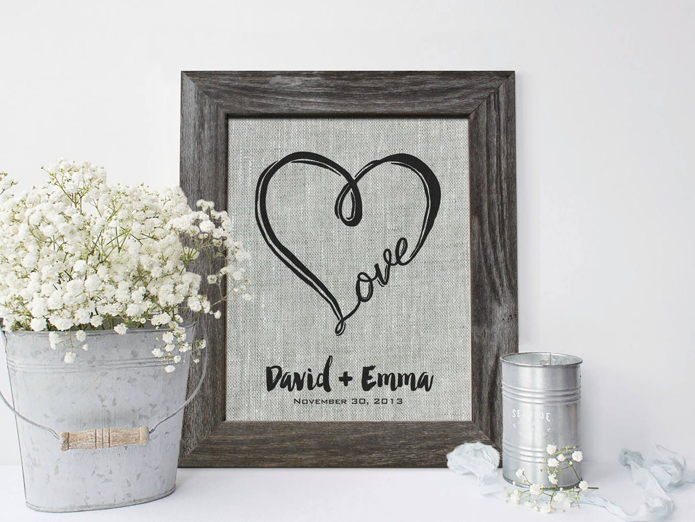 4th Wedding Anniversary: 4th Anniversary Gift Print On Linen Fourth Linen