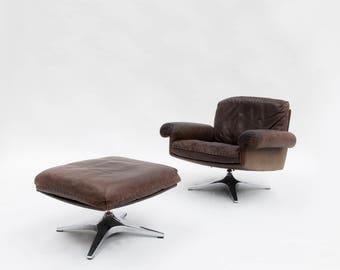 De Sede DS 31 swivel lounge club armchair and ottoman