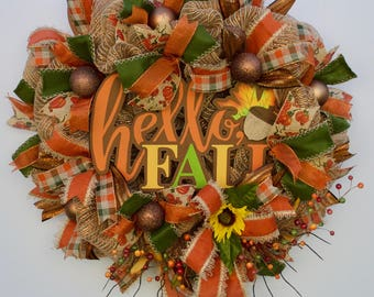 Hello Fall Wreath, Harvest Wreath, Autumn Wreath, Deco Mesh Fall Wreath, Fall Welcome Wreath, Thanksgiving Wreath, Fall Harvest Wreath