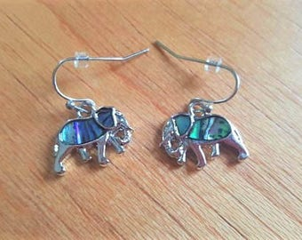 Elephant Earrings, Elephant Jewelry, Elephant Lover Gift, Paua Shell Earrings, Abalone Earrings, Gift For Elephant Lover, Sterling Silver