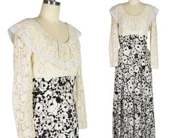 70s Lace Dress Black and White Print Dress 1970s Maxi Dress Bell Sleeves Dress Crochet Dress Rhinestone Buttons