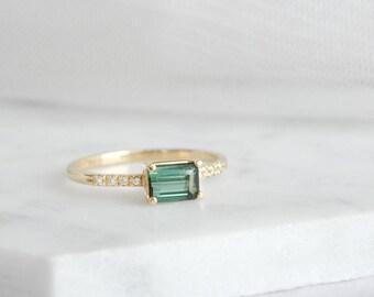 0.60CT Emerald Cut Green Tourmaline Diamond Ring, 14k Solid Gold Ring, October Birthstone Ring, Gemstone Engagement Ring, Promise Ring