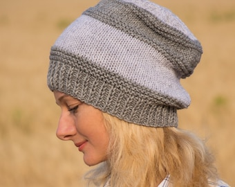 Knit gift for women hat gray hat wool gift thank you gift for friend gift for mentor thanksgiving outfit fall hat fall gift fall girl outfit