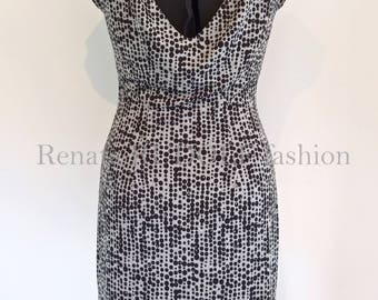 Woman Dress Tango Milonga Pinup Designer fashion Unique Handmade Grey Black pattern Boat neck Viscose Elastan size S RenataRUDOLFfashion