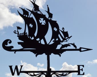 Frigate Metal Weathervane Roof Mount Ship Weather Vane Wind Decor