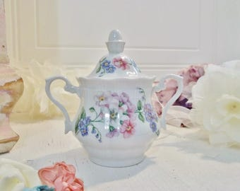 Vintage Porcelain Handle Bowl Mid Century Collectible Dishes Walbrzych Poland Floral White Pink Lilac Shabby Chic Decor Catchall Little Jar