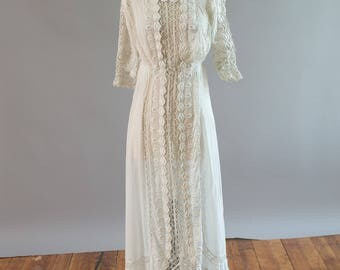 Antique Edwardian special tea dress wedding dress with embroidery, cut work, and crochet details