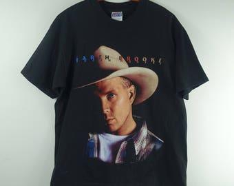 Vintage 1990s Garth Brooks Country Music Concert Tee 1996 Black T Shirt - Large
