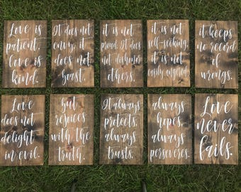 Painted Wedding Aisle Signs - Set of 10 Signs - Wedding Decor - Love Is Patient, Love is Kind - 1 Corinthians 13 - Bible Verse Wedding Signs