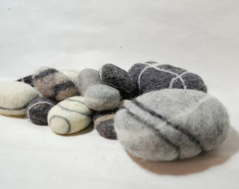 Felted wool stone , wool sea stones , Eco-friendly decor, needle felted sea stones