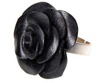 Pink flower Adjustable ring leather full grain cowhide