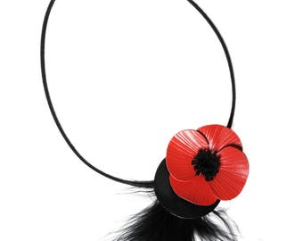 Poppy flower with cowhide leather and feathers Choker necklace