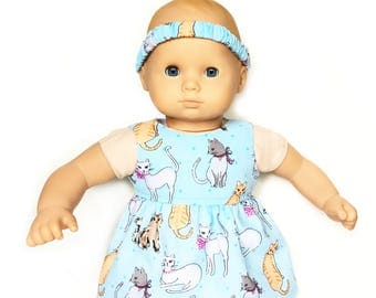 Baby Doll Dress, Headband, Cats, Blue, White, Summer, Bitty Baby, 15 inch Doll Clothes