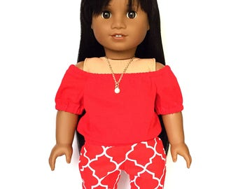 Print Pants, Lattice, Red, White, Fits dolls such as American Girl, 18 inch Doll Clothes, Summer, Fall