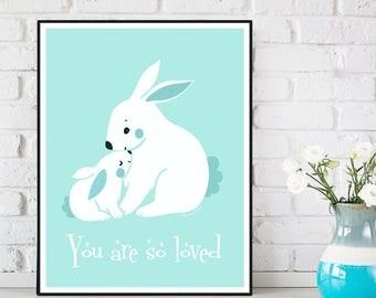 Nursery decor, Children poster, Nursery poster, Bunny poster, Nursery quote art, Child room decor, Illustration art, Baby children gift
