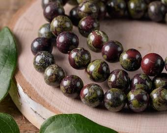 DRAGON BLOODSTONE Power Bracelet - Bloodstone Bracelet, Bloodstone Jewelry, Bloodstone Beads, Healing Stone Bracelet, Healing Crystal E0615