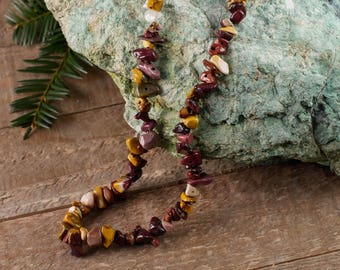 "34"" MOOKAITE Chip Necklace - Mookaite Jewelry, Healing Crystal Necklace, Mookaite Jasper Stone Necklace, Mookaite Jasper Necklace E0791"