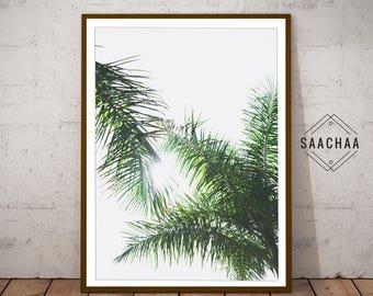 Palm leaf poster, Palm leaf wall decor, Palm leaf prints, Palm leaves print, Tropical leafs print, Modern palm print, Printable leaf palm