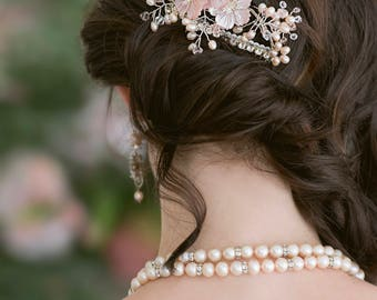 Bridal Blossom Hair Comb - Mother of Pearl, Swarovski Crystals, Freshwater Pearls, Silver  - Made to Order