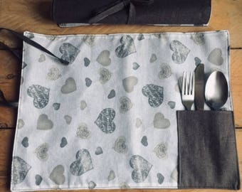 Rolled Placemat with Pocket, American placemat, breakfast Placemat