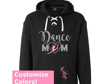 DANCE MOM Glitter Hoodie, Dance Mom Lace Up Hoodies, Dance Mom Sweatshirt, Personalized Dance Mom Shirt, Dancer Mom Glitter, Dance Mom Bling