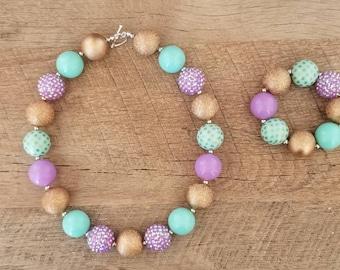 Unicorn Chunky Necklace, Mint Purple Chunky Necklace, Baby Necklace, Bubblegum Bead Necklace, Unicorn Birthday, Cake Smash Necklace