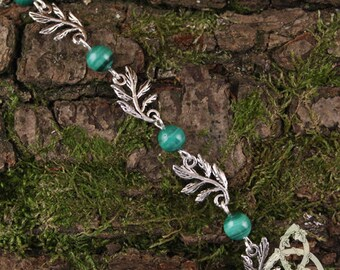 Silvery green leaves Elfiques Malachite bracelet medieval twig wedding pastel esoteric magic wicca pagan Bohemian nature forest