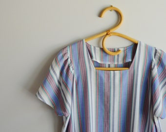 Vintage handmade striped tunic dress with cute pockets