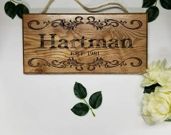 Last Name sign / Custom Wood Name Sign / Personalized Wood Sign / Rustic Wood Sign / ENGRAVED Est Sign, Distressed Sign Outdoor Camping Sign