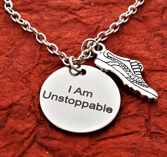 CrossFit MMA Fitness Jewelry, I am UNSTOPPABLE Charm Necklace, Gifts for Running Kickboxing Boxing Workout Motivational Quotes, Word Charms