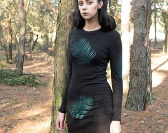 Black palm leaves dress