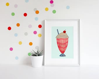 Milkshake Print, Milkshake Wall Art, Gifts for girls, Girls Room Prints, Girls Room Decor, Wall Art for Girls, Kids Art, Kids Prints