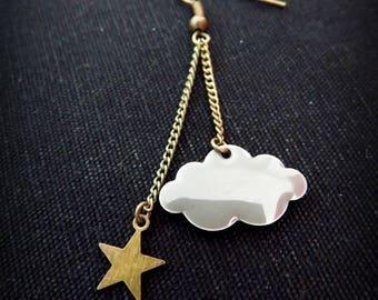 Cloud grey enamel and brass star earrings