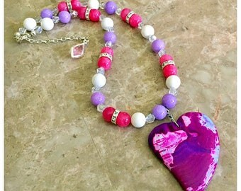 Agate Beaded Necklace, Gemstone Necklace, Beaded Necklace, Boho Necklace, Heart Pendant Necklace, Pink Statement Necklace, Agate Pendant