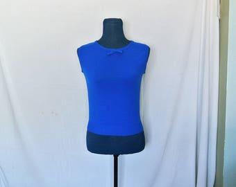 70s Royal Blue Sleeveless Polyester Top