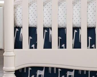 Navy Giraffe Crib Skirt 17″ Drop | Giraffe Nursery | Navy Nursery | Navy Crib Skirt | Giraffe Baby Bedding | Gender Neutral Crib Skirt