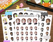Squat Time Kawaii Girls - Fitness Squatting Leg Day Booty Workout Exercise - Planner Stickers (K0056)