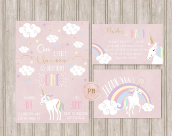 Unicorn Birthday Invitation, Unicorn First Birthday Invitation, Unicorn Baby Shower Invitation, Books for baby card, Thank you Card