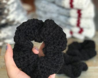 Black Crochet Vegan Hair Scrunchie // Crochet Hair Accessory