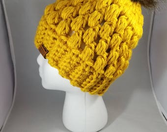 Chunky Mustard Yellow Crochet Beanie, With or Without Pom, READY TO SHIP