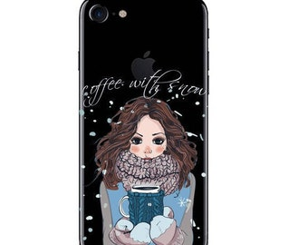 iPhone 8/7/6/6s case Coffee with snow, warm coffee in the cold winter days,delicious tea, snowing in , keeping cozy
