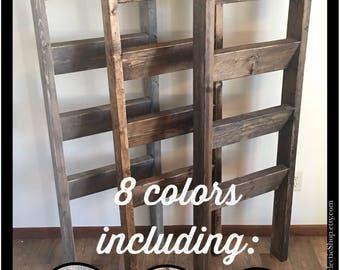 Blanket ladder | Rustic wooden farmhouse quilt ladder 5' | Distressed towel rack ladder | Decorative country decor furniture | Nursery decor