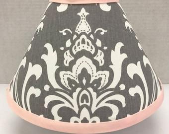 Nursery Lampshade, Girls Pink and Gray Lamp Shade, Baby Nursery Lamp Shade, Custom Lamp Shade, Pink and Gray Damask Lampshade, Home Decor