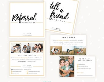 Referral cards, referral card template, referral program, tell a friend, referral photoshop template, word of mouth marketing board psd