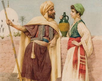 FILIPPO INDONI signed orientalist Scene painting