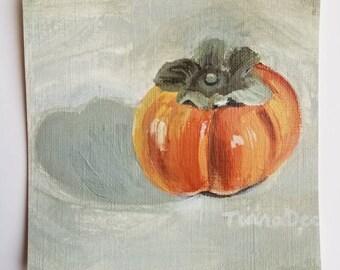 Persimmon Painting Original Acrylic - Original Persimmon Painting - Original Artwork - Mini Painting - Mini Fruit Painting - Persimmon Art