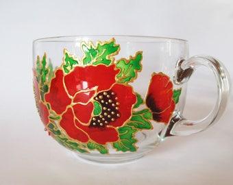 Red Poppies Mug Red Flower Mug  Poppy Mug Flower Mug Red Poppy Gift  Hand Painted Mug Coffee Mug Floral Mug Gift For Her Mother's Day Gift