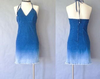 vintage denim halter dress/camisole dress/mini dress made in USA women's size S