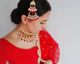 Red and Gold Kundan Indian Jewelry Set with Large Earrings and Red Kundan Passa - Indian Wedding Jewelry, Indian Nose Ring, Nath, Kundan